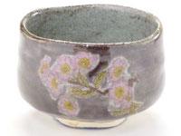 九谷焼『抹茶碗』ソメイヨシノ紫塗り
