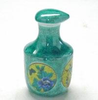 九谷焼『醤油差し』丸紋グリーン
