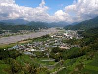 安倍川と賎機山に挟まれたところです。