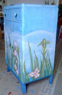 commode peinte décor japonais