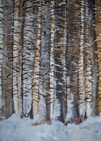winterwald_abendsonne_70x 90 cm