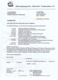 Anmeldung MGV Ausflug 2014