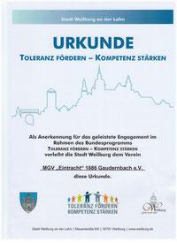 Urkunde Toleranz fördern - Kompetenz stärken