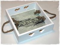 Shabby CHic Tabletts mit Malereien und Fotografien