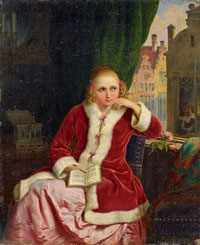Heinrich Franz Gaudenz von Rustige, Der Liebesroman, 1843 (?), Öl auf Leinwand, Van Ham, 304. Auktion »Alte Kunst«, Los 315, 18.11.2011