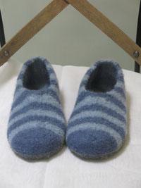 Filzschuhe für Teenies und Damen Groesse 39 hellblau jeansblau gestreift