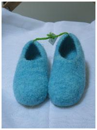 Filzpuschen für Kinder Modell Flippi türkis Größe 28
