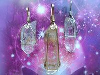 Quartz Crystal Pendant Silver Wire Wrapped
