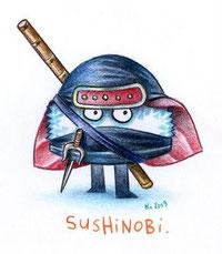 Petit sushi guerrier (... encore un petit dessin de Florent Chavouet ^_~)