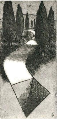 incisione originale di Luciano Ragozzino - misura lastra 113x53 mm