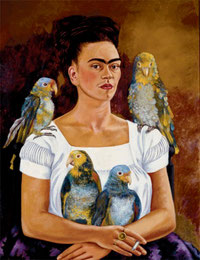 Frida Kahlo and her parrots