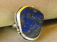Lapis Lazuli, Sterling Ring with Gold accents