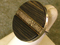 Reticulated Silver, 14K gold, Ebony, Sterling Ring