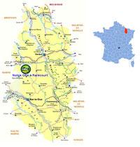 carte situant le gite de Rarecourt près Clermont en Argonne
