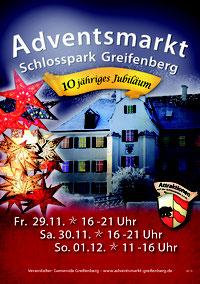 Plakate des Adventsmarkt im Schlosspark Greifenberg 2014