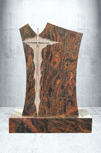 Grabstein mit Edelstahl Kreuz