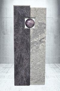Grabstein mit Rhodonit Kugel