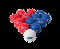 13 boules de boccia 270 mm poids 275 grammes au meilleur prix. 6 boules de boccia rouges et 6 balles de boccia bleues pour compétition. En cuir synthétique.
