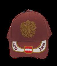 Kappe Austria weinrot, Stick Wappen und Adler