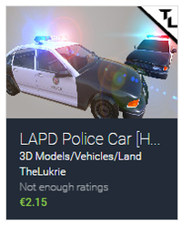 TheLukrie Unity Asset Pack, LAPD Police Car, Unity3D