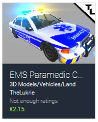 TheLukrie Unity Asset Pack, EMS Paramedic Car Blue, Unity3D