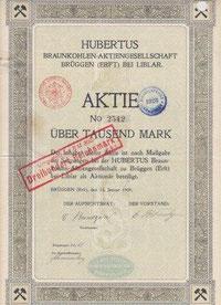 Hubertus Braunkohlen-AG 1909 (Ausschnitt)