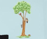 Woodland Tree Printed Wall Art with British Animals