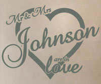 Personalised last name Mr and Mrs are in love vinyl wall art sticker