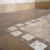 Brown noce travertine and porcelain tiles