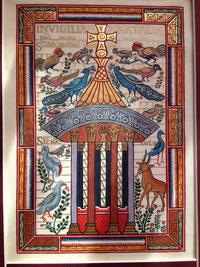 Enluminure : Fontaine de vie, Evangéliaire de Charlemagne, copie Martine Saussure-Young Or-et-Caractères