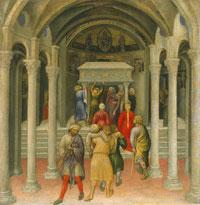 Een pelgrim wordt naar het graf van St. Niklaas gebracht in de hoop door aanraking te worden genezen. 1425 Gentile da Fabriano (NY.NG)