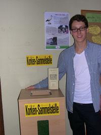 Korkensammelstelle mit unserem ehemaligen FÖJler Lukas Wiechmann