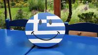 smiley Grieks ophangen, Griekenland, houten smiley