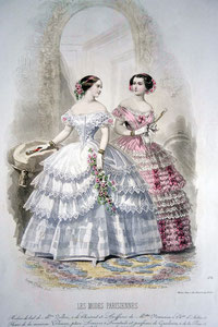 Les Modes Parisiennes, c. 1850. Ball dresses with floral decoration. picture taken by Nina Möller  - Victorian era fashion