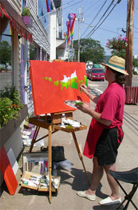 Richard Hoedl painting outdoors