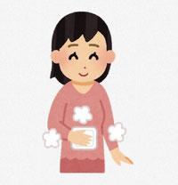 お腹を温める女性 イラスト