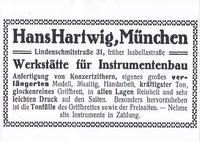 Firmeninserat Musik Hartwig