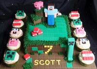 Minecraft birthday cake with Minecraft birthday cupcakes