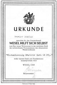 Originaldokument aus dem Jahre 1949