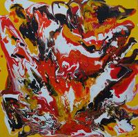 """""""Vulkanausbruch"""", 2018, Fluid Painting, Acrylfarbe auf Leinwand, 40x40cm   -   (c) Atelier Anne Sänger"""