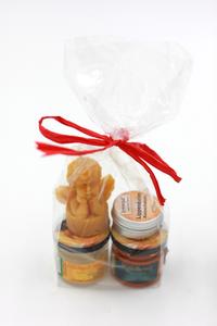 Glücks-Präsent mit Honig, Engel-Bienenwachsteelicht, Lippenbalsam