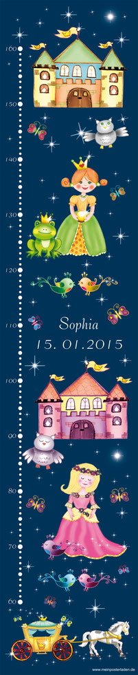 mit Name und Geburtsdatum personalisierbare Kindermesslatte mit Märchenprinzessinnen und Schloss -  auf Posterpapier gedruckt oder als Wandaufkleber