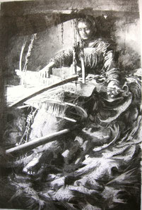 """""""Weberin"""", Kohle auf Papier, 90 × 60cm, 2020"""