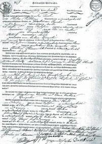 Heiratsurkunde aus dem Jahr 1815