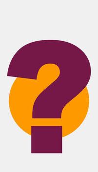 Bild: Lila Fragezeichen auf orangem Kreis
