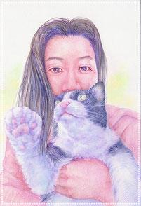 色鉛筆似顔絵 写実 リアル 猫と女性 モフモフ