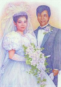 色鉛筆似顔絵 写実 リアル 結婚式