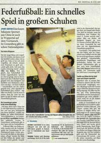 Westdeutsche Zeitung Bericht vom 30.06.2009
