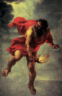Prométhée volant le feu de la Connaissance au faux divin, les dieux asservisseurs de l'Astral - Oeuvre de Jan Cossiers (1600/1671), peintre baroque flamand (musée du Prado à Madrid)