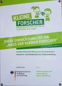 2012: Kita Zauberlinde zertifiziert als 'Haus der kleinen Forscher'